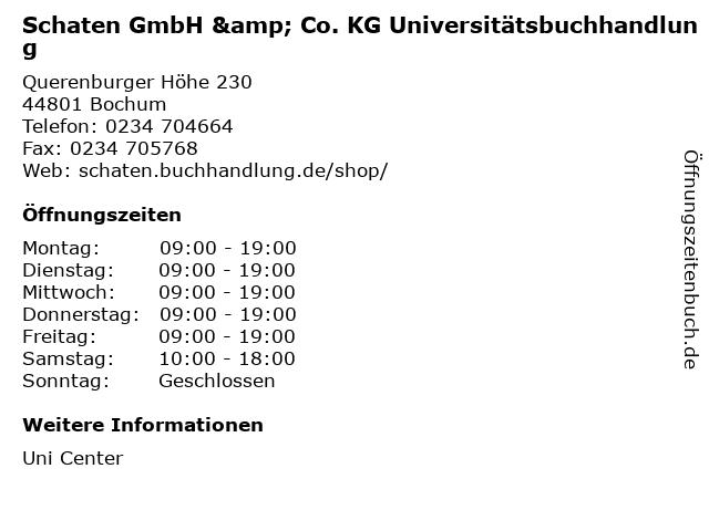 Schaten GmbH & Co. KG Universitätsbuchhandlung in Bochum: Adresse und Öffnungszeiten