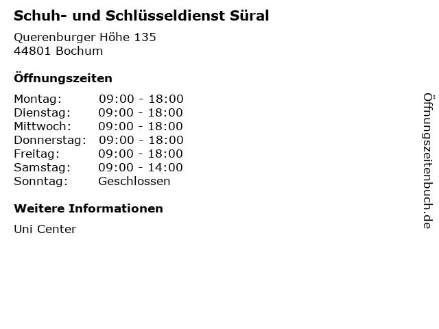 Schuh- und Schlüsseldienst Süral in Bochum: Adresse und Öffnungszeiten