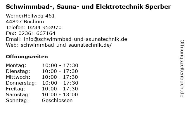 Schwimmbad-, Sauna- und Elektrotechnik Sperber in Bochum: Adresse und Öffnungszeiten