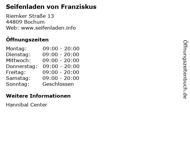 Seifenladen von Franziskus in Bochum: Adresse und Öffnungszeiten