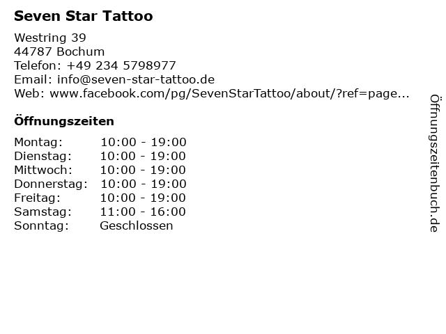 Seven Star Tattoo in Bochum: Adresse und Öffnungszeiten