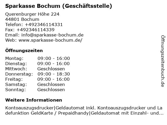 Sparkasse Bochum - Geschäftsstelle Uni-Center in Bochum: Adresse und Öffnungszeiten