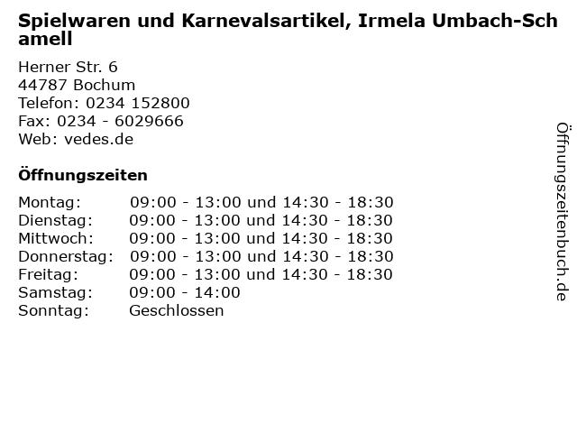 Spielwaren und Karnevalsartikel, Irmela Umbach-Schamell in Bochum: Adresse und Öffnungszeiten