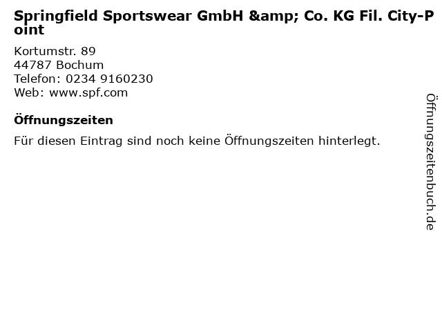 Springfield Sportswear GmbH & Co. KG Fil. City-Point in Bochum: Adresse und Öffnungszeiten