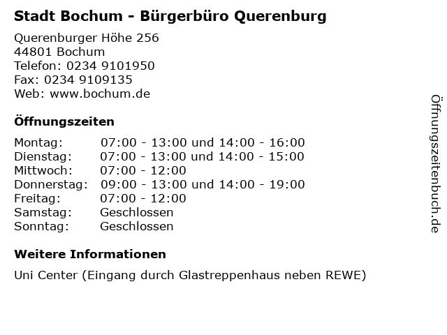 Stadt Bochum - Bürgerbüro Querenburg in Bochum: Adresse und Öffnungszeiten