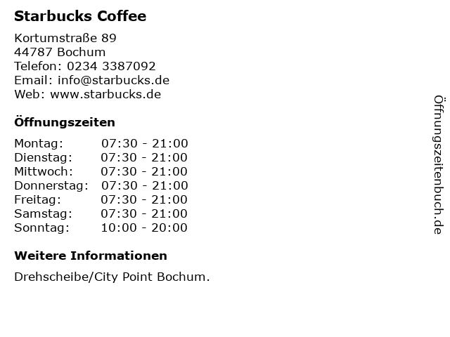 Starbucks Coffee in Bochum: Adresse und Öffnungszeiten