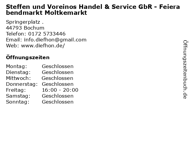 Steffen und Voreinos Handel & Service GbR - Feierabendmarkt Moltkemarkt in Bochum: Adresse und Öffnungszeiten