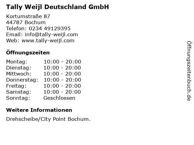 Tally Weijl Deutschland GmbH in Bochum: Adresse und Öffnungszeiten