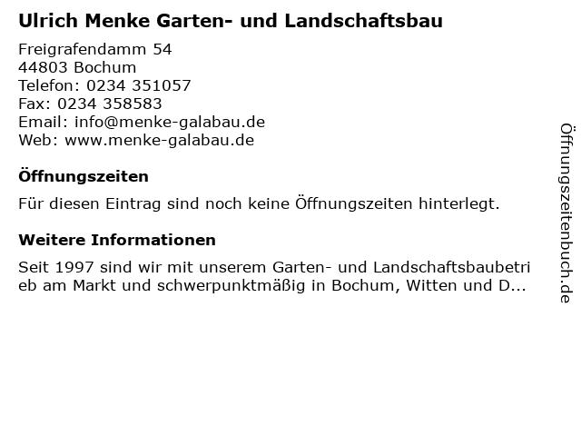 Ulrich Menke Garten- und Landschaftsbau in Bochum: Adresse und Öffnungszeiten