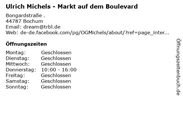 Ulrich Michels - Markt auf dem Boulevard in Bochum: Adresse und Öffnungszeiten