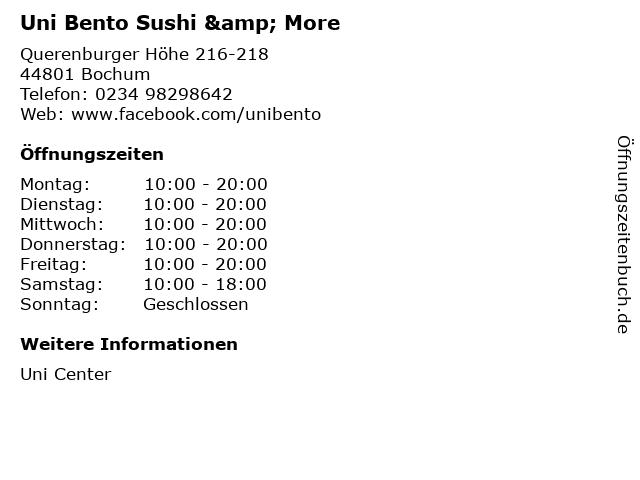 Uni Bento Sushi & More in Bochum: Adresse und Öffnungszeiten