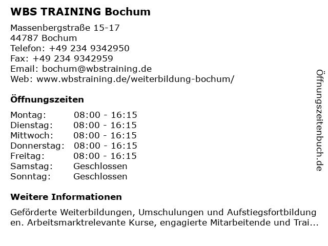 WBS TRAINING Bochum in Bochum: Adresse und Öffnungszeiten