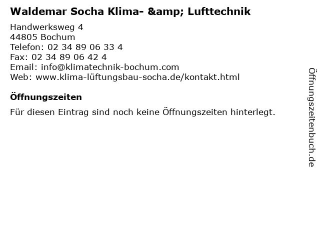 Waldemar Socha Klima- & Lufttechnik in Bochum: Adresse und Öffnungszeiten