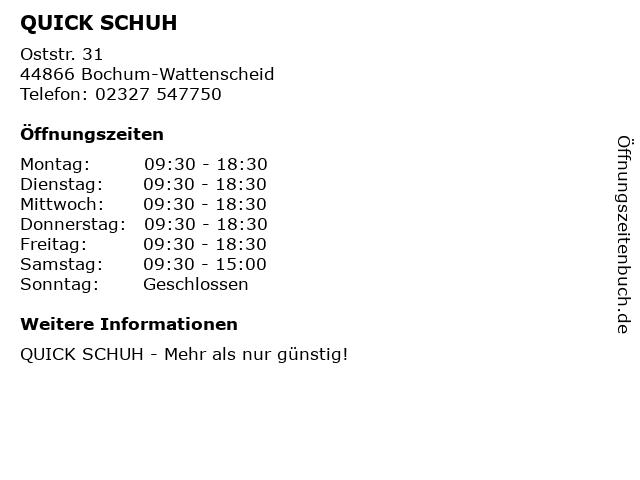 QUICK SCHUH in Bochum-Wattenscheid: Adresse und Öffnungszeiten