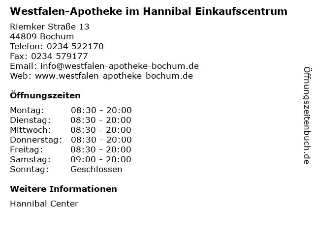 Westfalen-Apotheke im Hannibal Einkaufscentrum in Bochum: Adresse und Öffnungszeiten