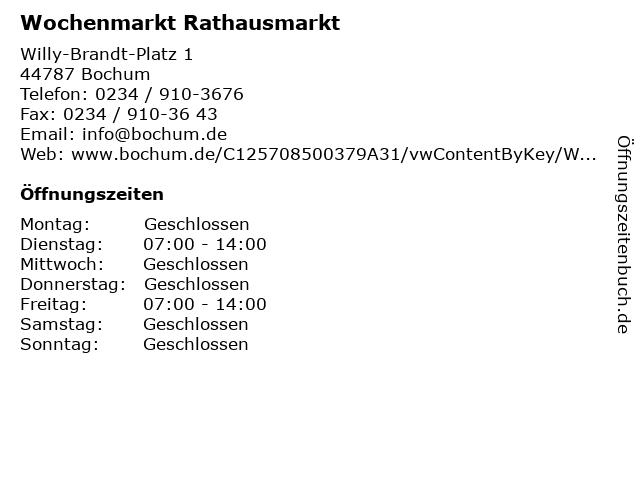 Wochenmarkt Rathausmarkt in Bochum: Adresse und Öffnungszeiten