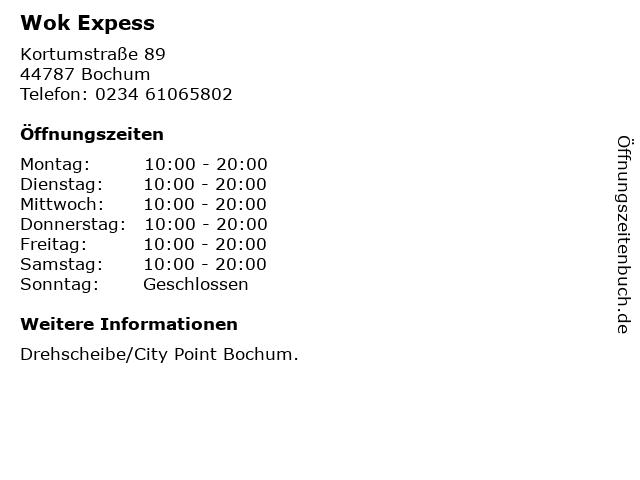 Wok Expess in Bochum: Adresse und Öffnungszeiten