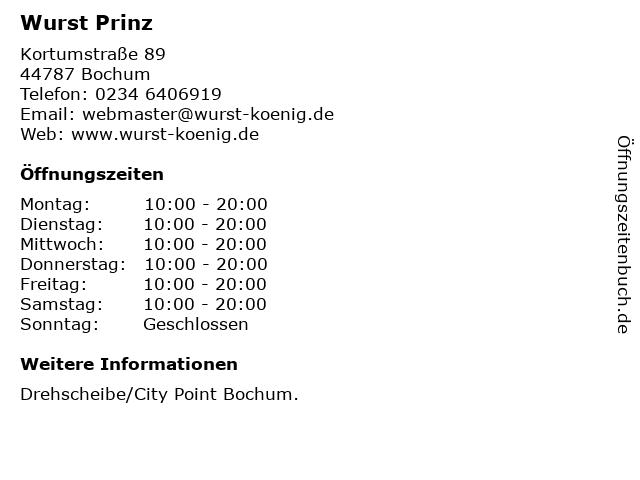 Wurst Prinz in Bochum: Adresse und Öffnungszeiten