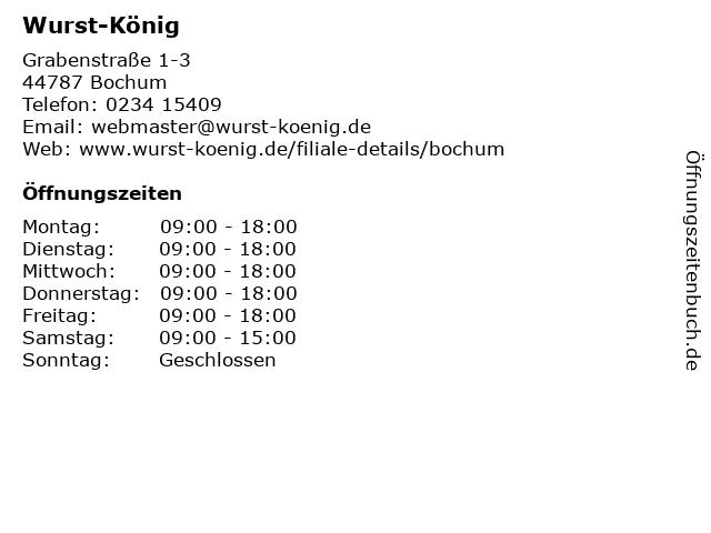 Wurst-König in Bochum: Adresse und Öffnungszeiten