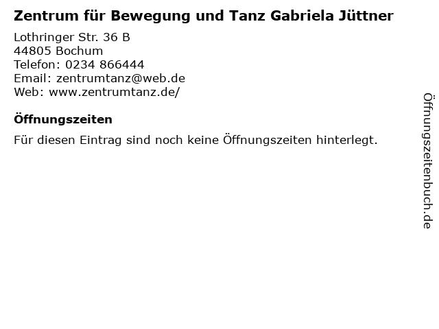 Zentrum für Bewegung und Tanz Gabriela Jüttner in Bochum: Adresse und Öffnungszeiten