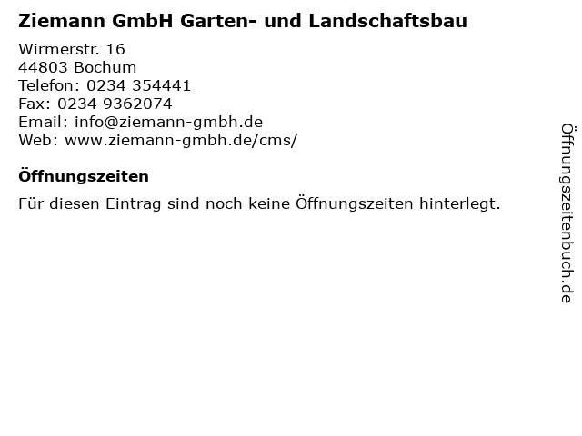 Ziemann GmbH Garten- und Landschaftsbau in Bochum: Adresse und Öffnungszeiten