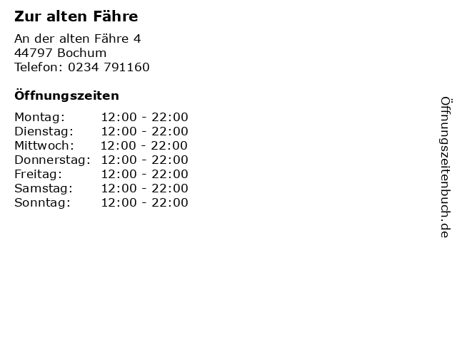 Zur alten Fähre in Bochum: Adresse und Öffnungszeiten