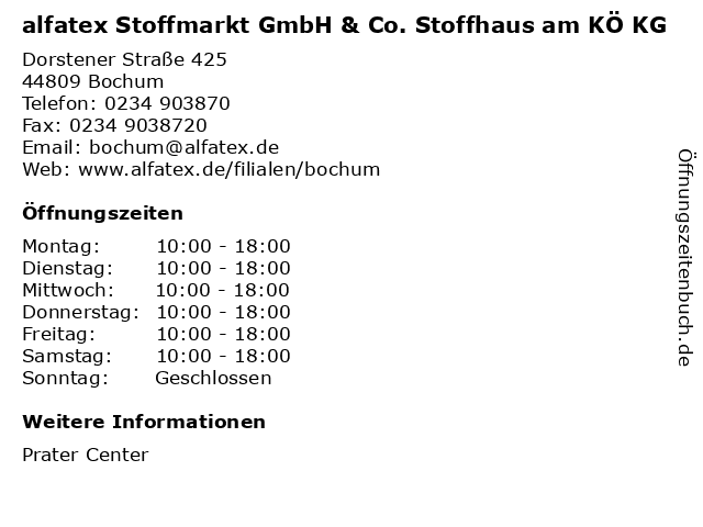 alfatex Stoffmarkt GmbH & Co. Stoffhaus am KÖ KG in Bochum: Adresse und Öffnungszeiten
