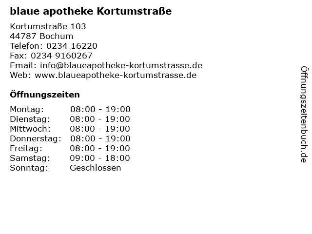 blaue apotheke Kortumstraße in Bochum: Adresse und Öffnungszeiten