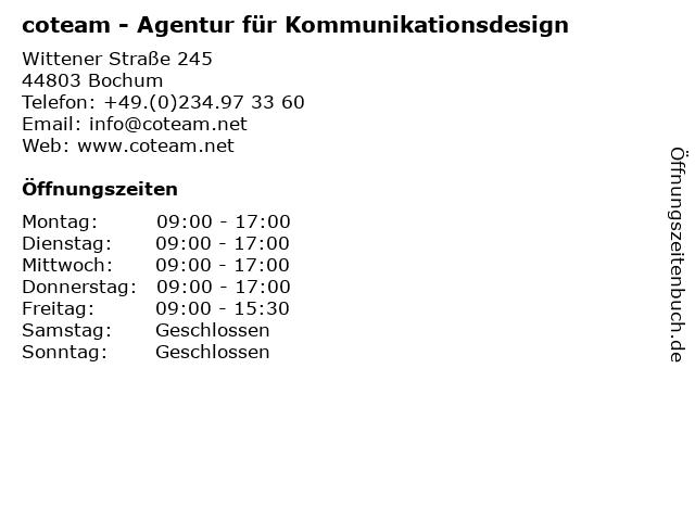 coteam - Agentur für Kommunikationsdesign in Bochum: Adresse und Öffnungszeiten