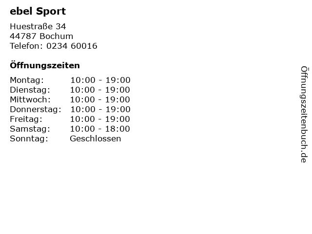 ebel Sport in Bochum: Adresse und Öffnungszeiten