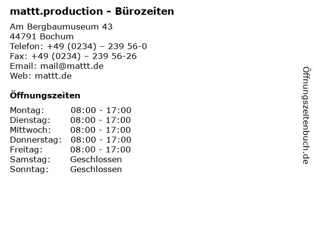 mattt.production - Bürozeiten in Bochum: Adresse und Öffnungszeiten