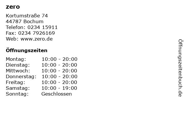 zero in Bochum: Adresse und Öffnungszeiten