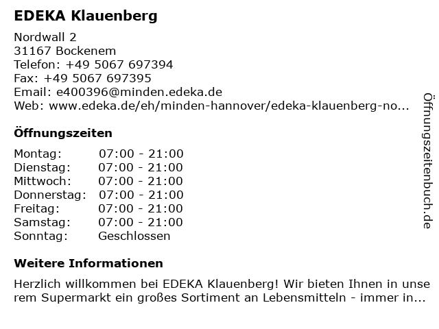 EDEKA Klauenberg in Bockenem: Adresse und Öffnungszeiten