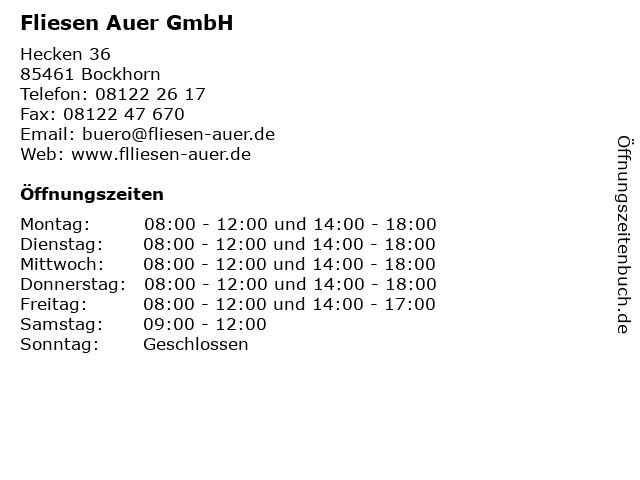 Fliesen Auer GmbH in Bockhorn: Adresse und Öffnungszeiten