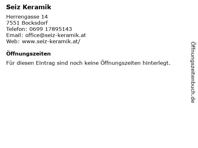 Seiz Keramik in Bocksdorf: Adresse und Öffnungszeiten