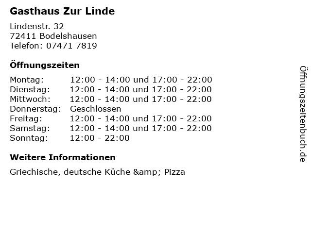 Gasthaus Zur Linde in Bodelshausen: Adresse und Öffnungszeiten