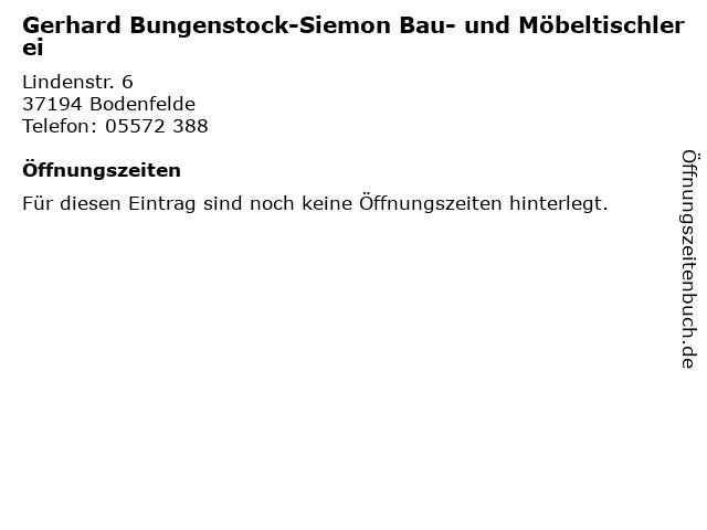 Gerhard Bungenstock-Siemon Bau- und Möbeltischlerei in Bodenfelde: Adresse und Öffnungszeiten