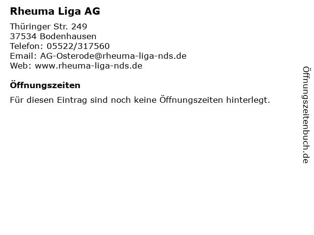 Rheuma Liga AG in Bodenhausen: Adresse und Öffnungszeiten