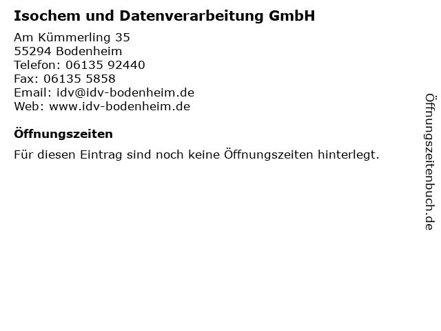 Isochem und Datenverarbeitung GmbH in Bodenheim: Adresse und Öffnungszeiten