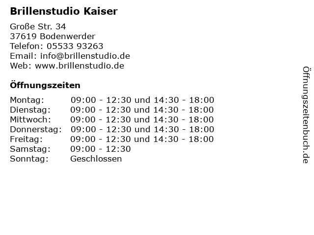 Brillenstudio Kaiser in Bodenwerder: Adresse und Öffnungszeiten