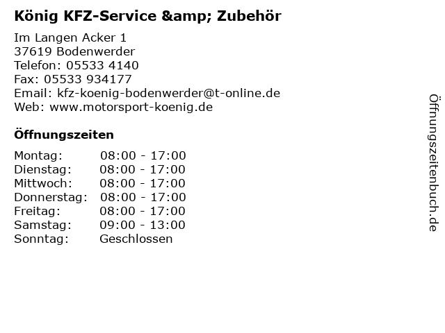 ᐅ Offnungszeiten Konig Kfz Service Zubehor Im Langen Acker 1