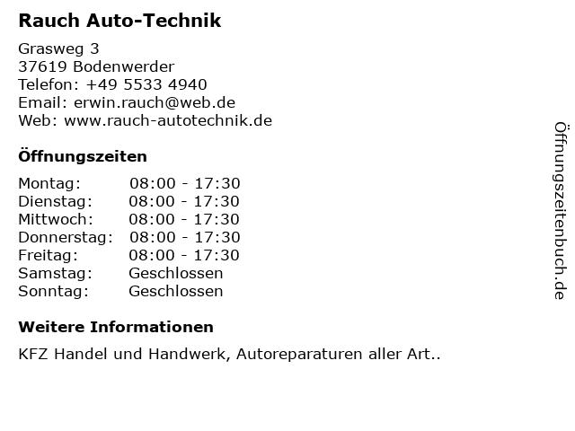 ᐅ Offnungszeiten Rauch Auto Technik Grasweg 3 In Bodenwerder