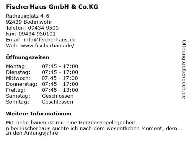 ᐅ Offnungszeiten Fischerhaus Gmbh Co Kg Rathausplatz 6 In