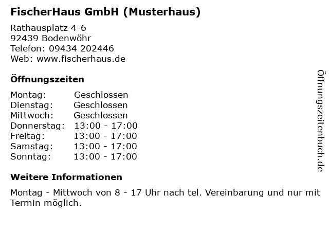 ᐅ Offnungszeiten Fischerhaus Gmbh Musterhaus Rathausplatz 4 6
