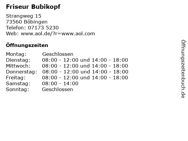 Friseur Bubikopf in Böbingen: Adresse und Öffnungszeiten