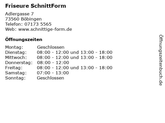 Friseure SchnittForm in Böbingen: Adresse und Öffnungszeiten