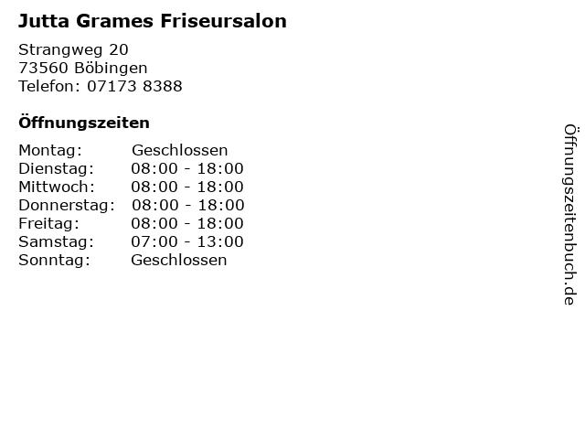 Jutta Grames Friseursalon in Böbingen: Adresse und Öffnungszeiten