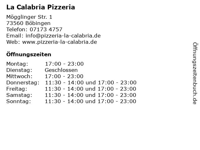 La Calabria Pizzeria in Böbingen: Adresse und Öffnungszeiten