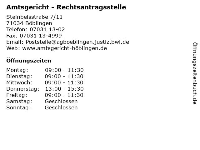 Amtsgericht - Rechtsantragsstelle in Böblingen: Adresse und Öffnungszeiten
