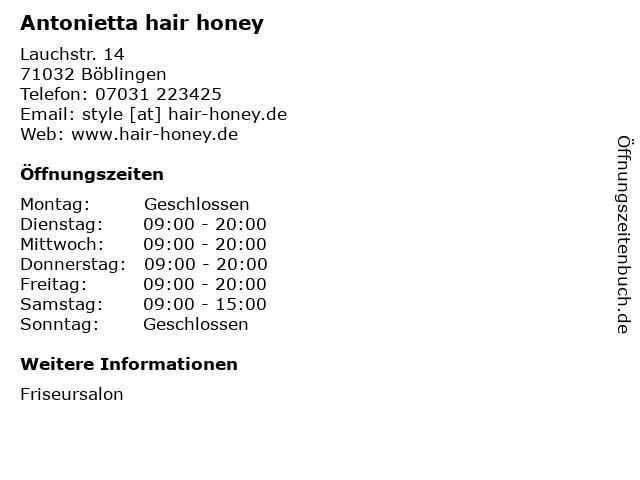 Antonietta hair honey in Böblingen: Adresse und Öffnungszeiten